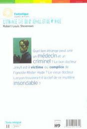 L'etrange cas du docteur jekyll et de mr hyde - 4ème de couverture - Format classique