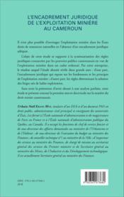 Encadrement juridique de l'exploitation minière au Cameroun - Couverture - Format classique