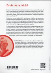 Droit de la laicite - 4ème de couverture - Format classique