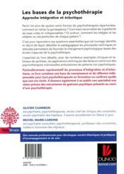 Les bases de la psychothérapie ; approche intégrative et éclectique (3e édition) - 4ème de couverture - Format classique