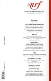 La nouvelle revue francaise N.640 - 4ème de couverture - Format classique