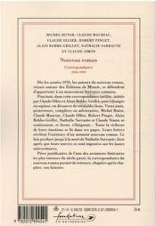 Le nouveau roman ; correspondance 1946-1999 - 4ème de couverture - Format classique