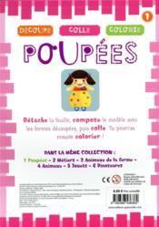Découpe, colle, colorie ; poupées - 4ème de couverture - Format classique