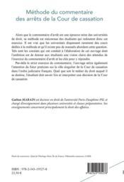 Méthode du commentaire des arrêts de laCour de cassarion - 4ème de couverture - Format classique