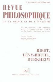 Revue Philosophique N.130/3 ; Ribot, Levy-Bruhl, Durkheim - Intérieur - Format classique