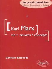 Karl Marx Vie Oeuvres Concepts Les Grands Theoriciens Sciences Economiques Et Sociales - Intérieur - Format classique