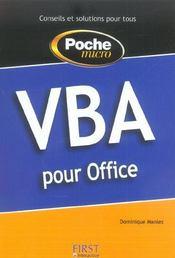 Vba Pour Office - Intérieur - Format classique