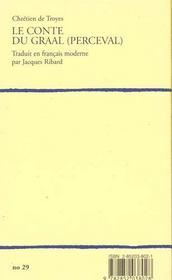 Chretien De Troyes Le Conte Du Graal - 4ème de couverture - Format classique