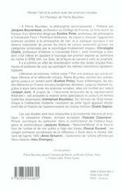 Penser l'art et la culture avec les sciences sociales en l'honneur de pierre bourdieu seminaire 2001 - 4ème de couverture - Format classique