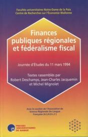Finances publiques régionales et fédéralisme fiscal - Couverture - Format classique