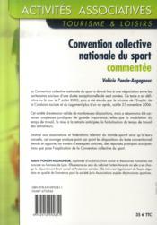 Convention collective nationale du sport commentée - 4ème de couverture - Format classique