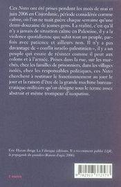 Notes sur l'occupation ; naplouse, kalkilyia, hébron - 4ème de couverture - Format classique