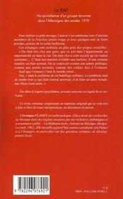 La RAF ; vie quotidienne d'un groupe terroriste dans l'Allemagne des années 1970 - 4ème de couverture - Format classique