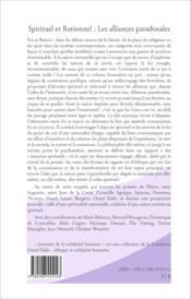 Spirituel et rationnel ; les alliances paradoxales - Couverture - Format classique