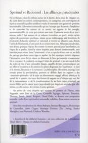 Spirituel et rationnel ; les alliances paradoxales - 4ème de couverture - Format classique