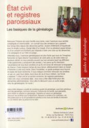 Etat civil et registres paroissiaux - les basiques de la genealogie. - 4ème de couverture - Format classique