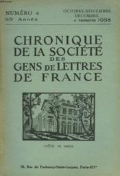 CHRONIQUE DE LA SOCIETE DES GENS DE LETTRES DE FRANCE N°4, 93e ANNEE ( 4e TRIMESTRE 1958) - Couverture - Format classique