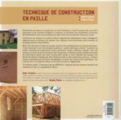 Techniques de construction en paille - 4ème de couverture - Format classique