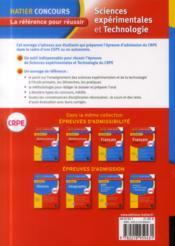 Crpe ; sciences expérimentales et technologie - 4ème de couverture - Format classique