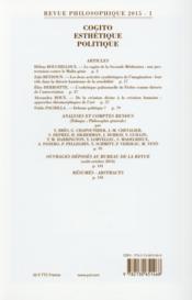 REVUE PHILOSOPHIQUE N.140/1 ; cogito, esthétique, politique - 4ème de couverture - Format classique