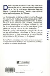 Histoire du Sahara - 4ème de couverture - Format classique