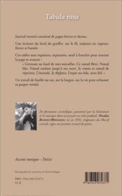 Tabula rasa - 4ème de couverture - Format classique