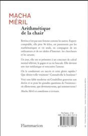 Arithmétique de la chair - 4ème de couverture - Format classique