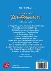 Les travaux d'Apollon T.1 ; l'oracle caché - 4ème de couverture - Format classique