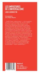Les impostures de l'universalisme - 4ème de couverture - Format classique