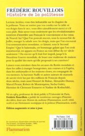 Histoire de la politesse ; de 1789 à nos jours - 4ème de couverture - Format classique