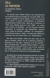Zola au Panthéon ; la quatrième affaire Dreyfus - 4ème de couverture - Format classique