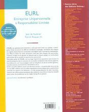 Eurl ; Entreprise Unipersonnelle A Responsabilite Limitee ; Creation Gestion Evolution ; 9e Edition - 4ème de couverture - Format classique