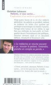 Patients, si vous saviez... - 4ème de couverture - Format classique