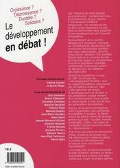Le développement en débat - 4ème de couverture - Format classique