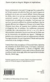 Guerre et paix en Assyrie ; religion et impérialisme - 4ème de couverture - Format classique