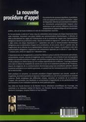 La nouvelle procedure d'appel 2e edition - 4ème de couverture - Format classique