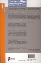 Lire au collège ; savoir interpréter les textes et savoir en parler - 4ème de couverture - Format classique