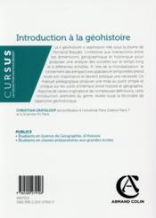 Introduction à la géohistoire - 4ème de couverture - Format classique