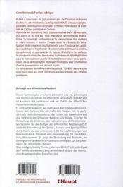 Contributions à l'action publique - 4ème de couverture - Format classique