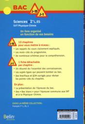 BAC J-15 J-1 ; sciences ; SVT ; physique-chimie ; 1re L ; ES (édition 2017) - 4ème de couverture - Format classique