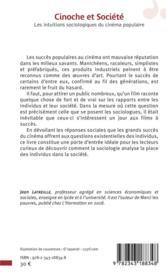 Cinoche et société ; les intuitions sociologiques du cinéma populaire - 4ème de couverture - Format classique
