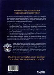 Construire la communication thérapeutique avec l'hypnose (2e édition) - 4ème de couverture - Format classique