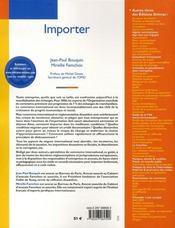 Importer ; importation, commerce international, douane (1e édition) - 4ème de couverture - Format classique