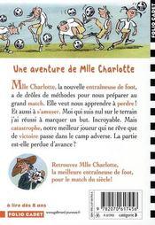 Mlle Charlotte T.6 ; la meilleure entraîneuse de foot - 4ème de couverture - Format classique