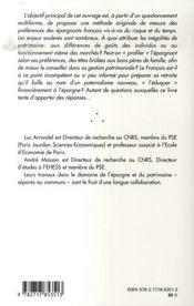 Inegalites Patrimoniales Et Choix Individuels ; Des Gouts Et Des Richesses - 4ème de couverture - Format classique