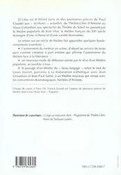 Le theatre francais du xxe siecle - 4ème de couverture - Format classique