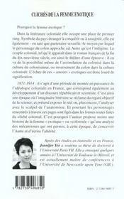 Cliches De La Femme Exotique ; Un Regard Sur La Litterature Coloniale Francaise Entre 1871 Et 1914 - 4ème de couverture - Format classique