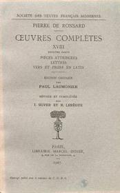 Tome xviii - les oeuvres (1584-1597) pieces attribuees, lettres, vers et prose - Couverture - Format classique