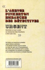 L'agence Pinkerton t.1 ; le châtiment des hommes-tonnerres - 4ème de couverture - Format classique