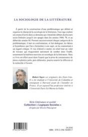 La sociologie de la littérature ; histoire problématique, synthèse critique - 4ème de couverture - Format classique